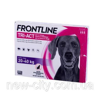Frontline Tri-Act (Фронтлайн Три-Акт) капли от блох, клещей и комаров для собак весом от 20 до 40 кг (L)