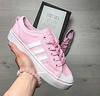 Женские кеды Adidas Nizza весенние низкие яркие молодежные на шнуровке (розовые), ТОП-реплика , фото 1