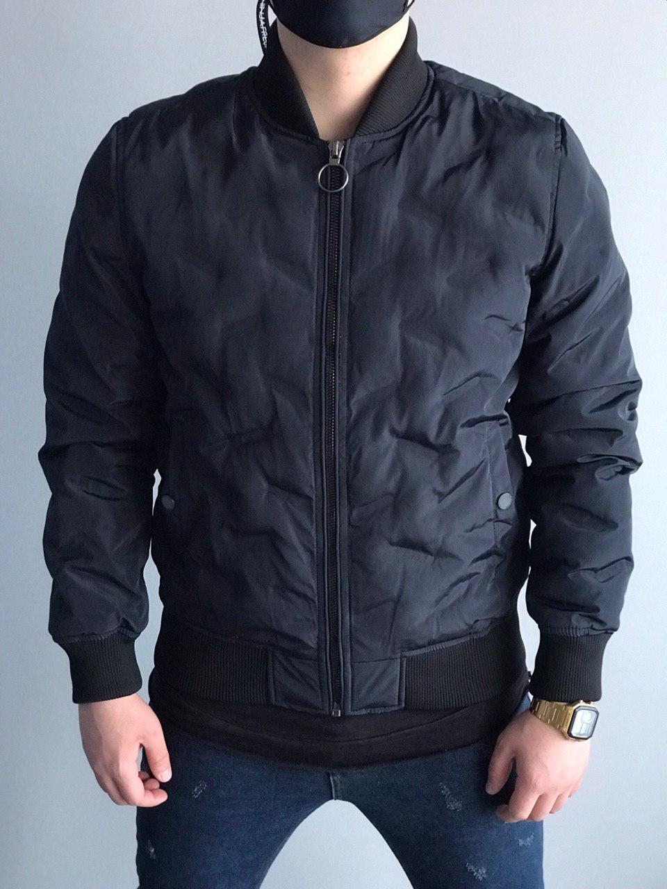 Мужская куртка бомбер темно-синяя