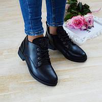 Черевики жіночі чорні екошкіра на низькому каблуку. Тільки 40 розмір! 40р