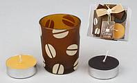 Набор: 2 свечи + стеклянный подсвечник BonaDi RF-B34