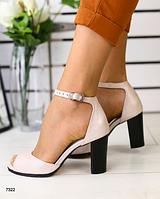 Босоножки пудровые кожаные на каблуке, фото 1