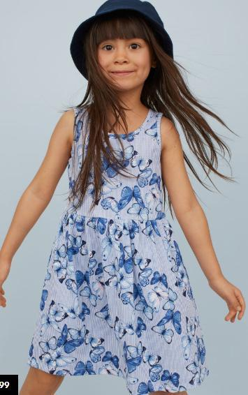 Летнее трикотажное платье из хлопка для девочки 2-4, 4-6, 6-8, 8-10лет. Butterflies/striped Бренд: H&M