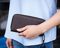 Женский кошелек 01 коричневый кожзам с тиснением под питона