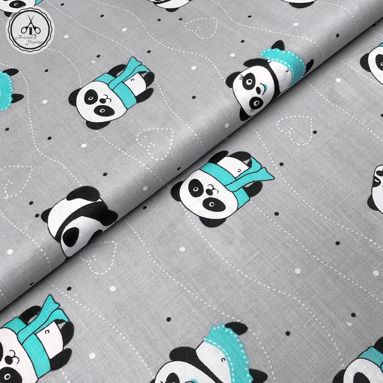 """Бязь Gold хлопковая """"панды с мятными шарфами на сером """" 220 см"""