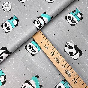 """Бязь Gold хлопковая """"панды с мятными шарфами на сером """" 220 см, фото 2"""