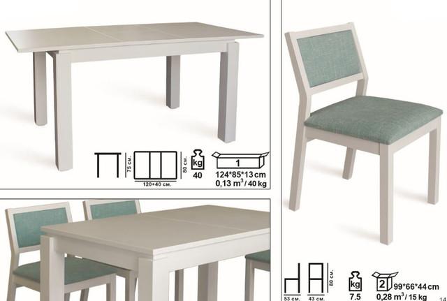 Комплект стол и стулья Комано белый (размеры)