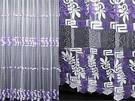 Тюль фатин, цвет белый с фиолетовым. Код 266т