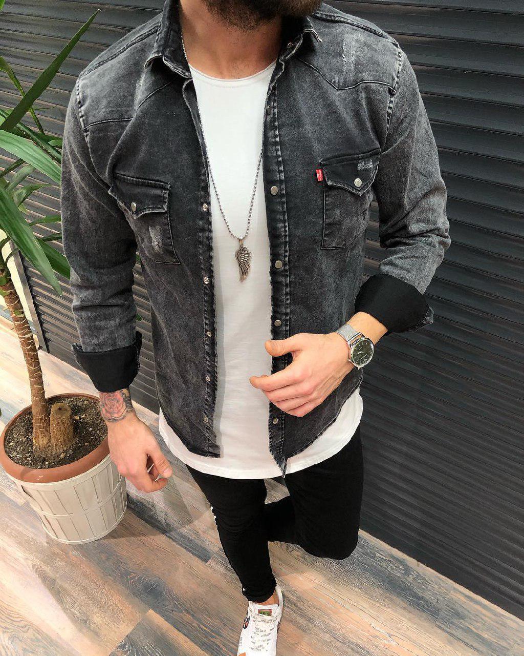 e47e28370ac Мужская темно-серая джинсовая рубашка  продажа