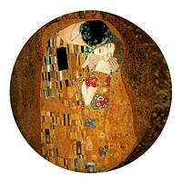 Декоративна кругла подушка пуфік Клімт (Поцілунок)