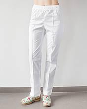 Медицинские женские коттоновые брюки на резинке белые 40-48