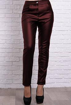 Прямые брюки экокожа Мексика, бордовые