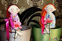 Авторская интерьерная текстильная кукла ручной работы. Вазонница