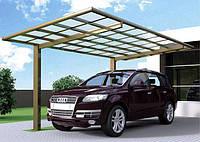 Автомобильный навес из алюминия с плоской крышей одиночный