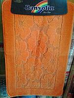 """Набор ковриков для ванной """"Banyolin"""", оранжевый цветок производство Турция"""