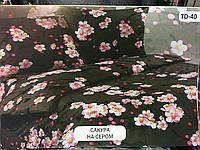 Постельное белье Тирасполь бязь евро . Сакура на сером Тиротекс