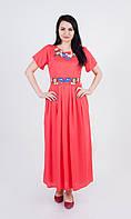 Довга літня коралова штапельна сукня з яскравою квітковою вишивкою №910-1