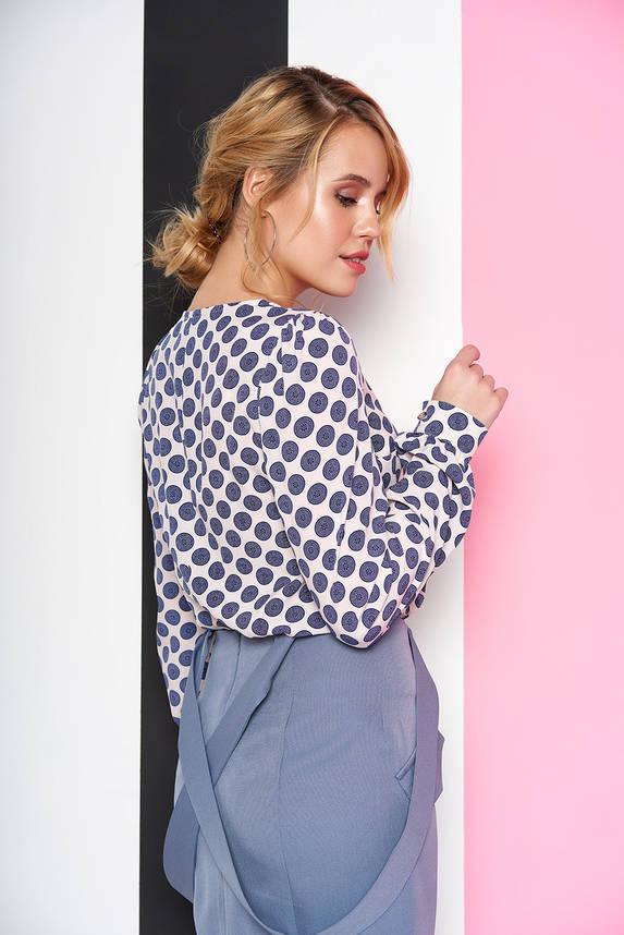 Модная блузка с принтом голубая, фото 2