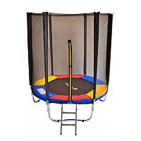 Батут JUST FUN MULTICOLOR диаметром 183см (6ft) для детей спортивный с внешней сеткой без лестницы