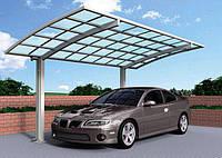 Автомобильный навес из алюминия с арочной крышей одиночный