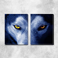 Волк, модульная картина (животные, волки, глаза), на ПВХ ткани, 45х63 см, (45х30-2)