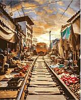 Картина по номерам Железная дорога у трущебах, 40x50 см, подарочная упаковка