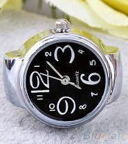 Жіночий кварцевий годинник кільце BOZHI з растягивающимся ремінцем (чорні), фото 3