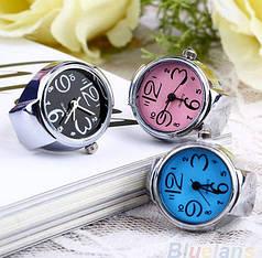 Женские кварцевые часы кольцо BOZHI с растягивающимся ремешком (черные)