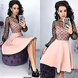 Платье женское нарядное юбка солнце верх сетка, фото 4