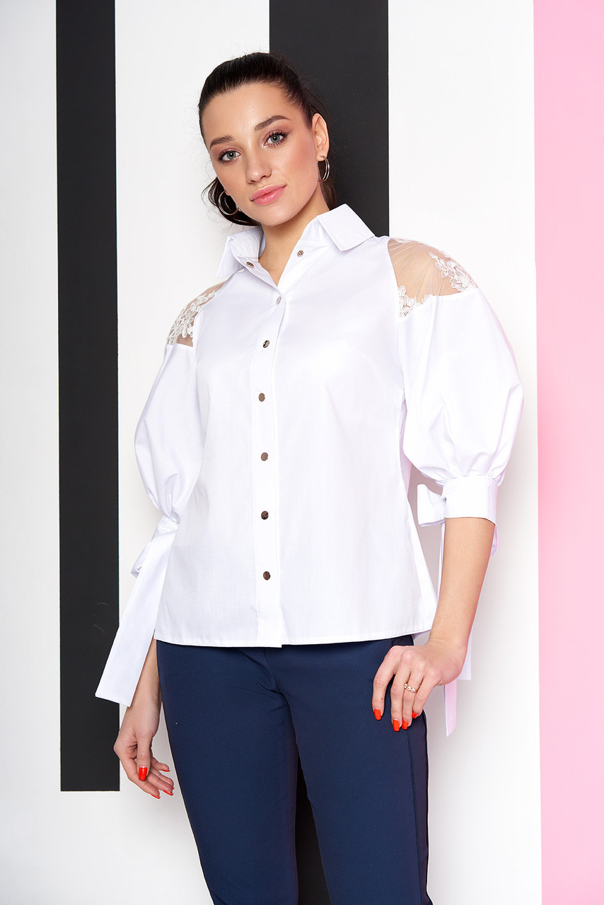 25145e157ed Нарядная белая блузка-рубашка с гипюром - Интернет-магазин одежды ALLSTUFF  в Киеве