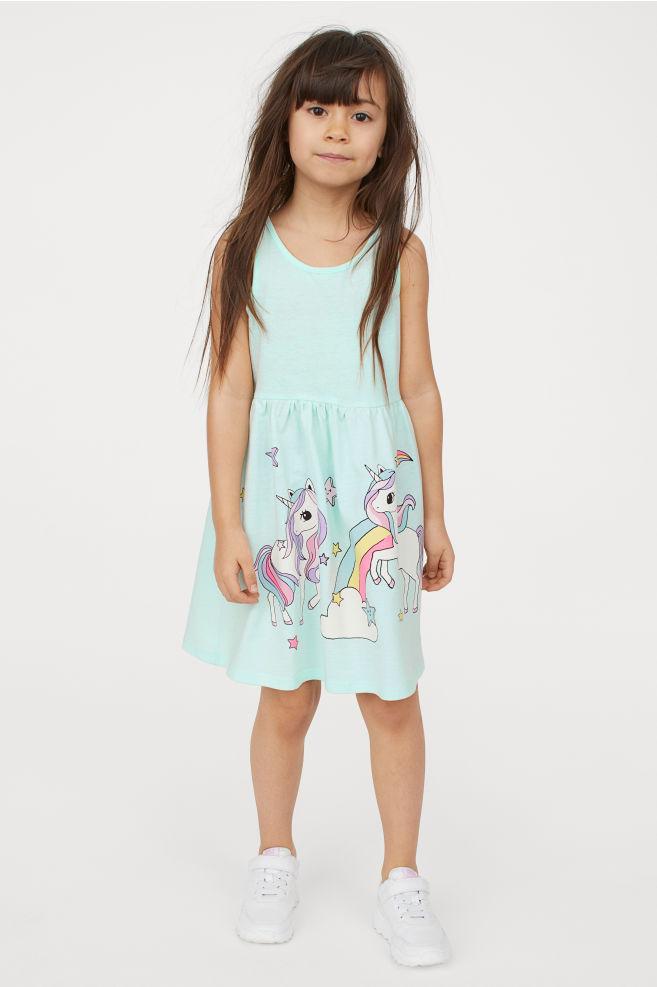 Летнее трикотажное платье из хлопка на девочку 2-4-6-8 лет. Единорог, мятный H&M