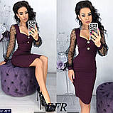Платье футляр женское Брошки с рукавом сетка, фото 4