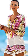 Шифоновая пляжная туника-платье с рисунком комбинированного цвета