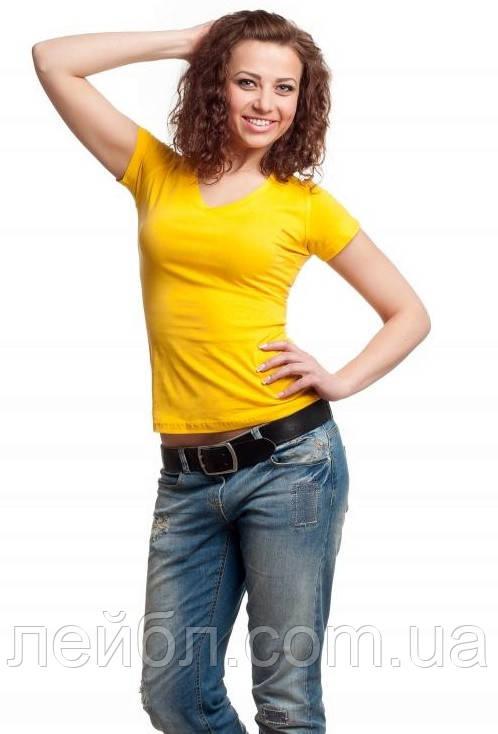 Футболка жіноча з V-подібною горловиною жовтого кольору