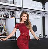 Костюм жіночий блузка і спідниця баска гіпюр довжина 1 метр купити 42 44 46 48 50 Р, фото 5