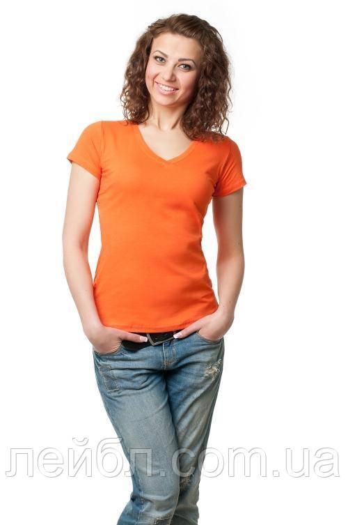 Футболка женская с V-образной горловиной оранжевого цвета