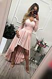 Платье женское Лиана вечернее ассиметричное с гипюровым рукавом, фото 4