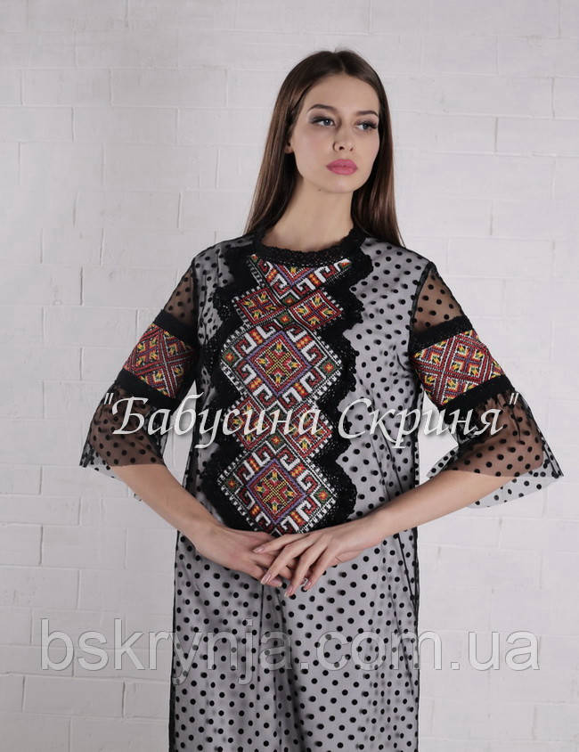 Заготовка жіночої сукні для вишивки нитками або бісером БС-134с