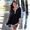 Полукруглая пляжная накидка с белой вышивкой опт
