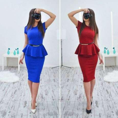 Платье женское деловое с баской красивое и модное