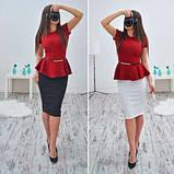Платье женское деловое с баской красивое и модное, фото 2