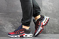 Мужские кроссовки Nike Air Max Tn (найк, демисезонные, плотная сетка, темно синие с красны)