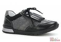 Кроссовки спортивные чёрно-серебристые для девочки (34 размер) Bartek 5904699504939