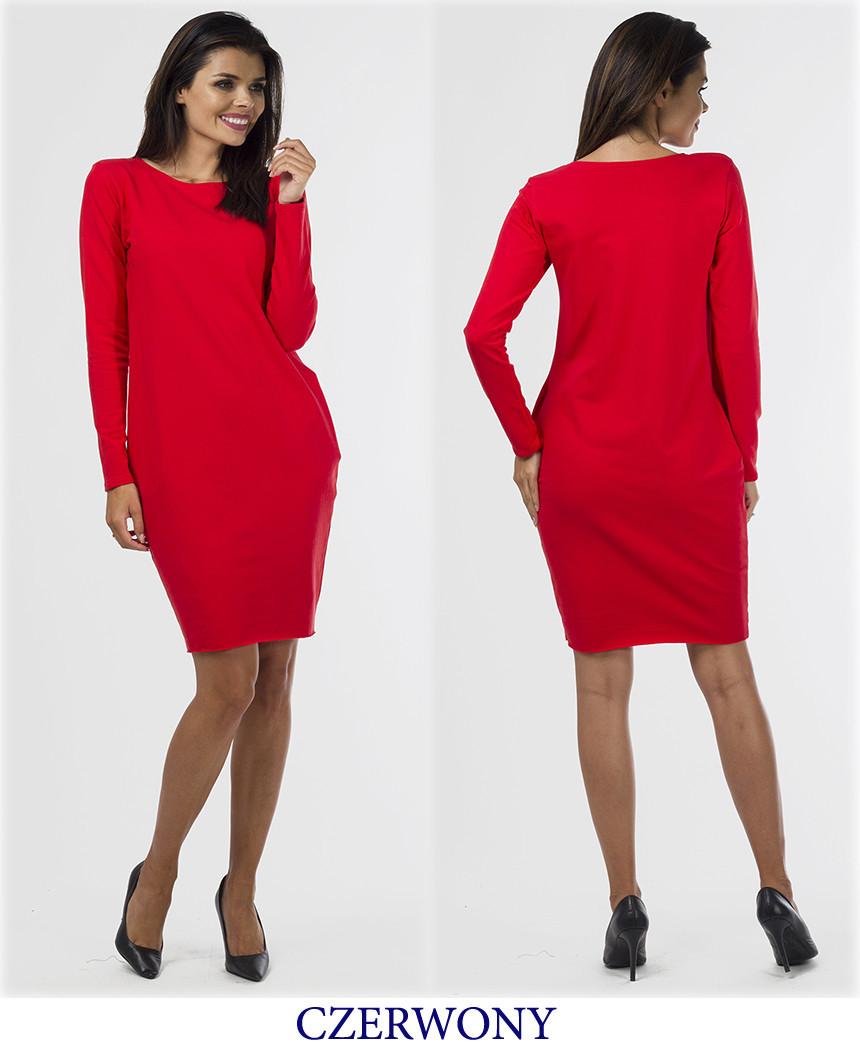 Сукня туніка жіноча 90 см довжина з довгим рукавом і кишенями синє чорне червоне