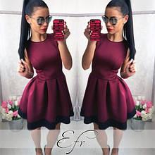 Платье женское в складку с кружевом пышное без рукава красивое бордо синее черное красное