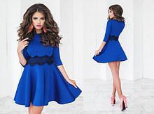 Платье женское красивое нарядное солнце с кружевом пышное