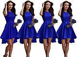 Платье женское асиметричное веер со шлейфом без рукава ментол пудра белое синее, фото 2