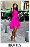 Платье женское красивое асиметричное веер без рукава пудра белое красное ментол, фото 5