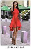 Платье женское красивое асиметричное веер без рукава пудра белое красное ментол, фото 6