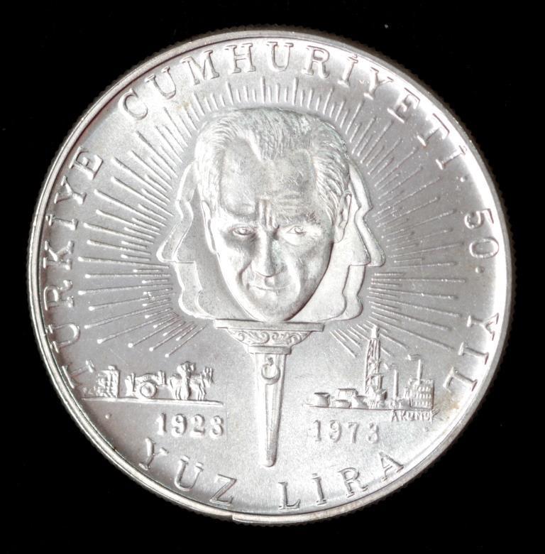 Турция 100 лир 1973 г  Серебро